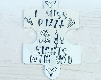 Pizza hug token,I miss pizza nights with you, pizza with you, pizza night in, lockdown, Hand Stamped, friends apart, I miss you,