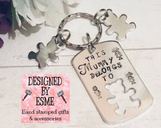 Featured listing image: Mothers Day Keyring gift, This Mummy Belongs to Keyring, Hand Stamped, Gift for mummy, for Mom, for Mum, for Momma