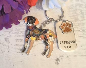 Labrador dad dog keyring, personalised dog dad keyring, Labrador mum gift, fathers day gift, Hand Stamped, Key Chain, Labrador keyring ,