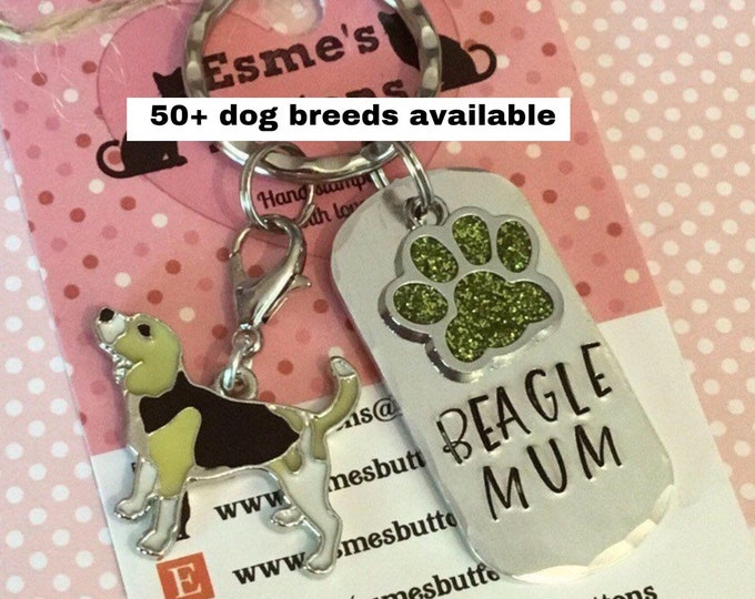 Beagle dad dog keyring, Fathers day gift, Beagle gifts, Hand Stamped, Key Chain, Dog Lover, Beagle dog gift, for her, for him