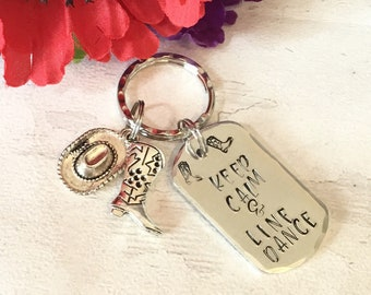 Line Dancing gift, keep calm and line dance Keyring, country music, cowboy boots, Hand Stamped bag charm, for her, for him,