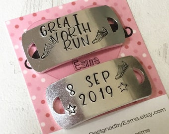 Great North Run shoe tags, lace plates, half marathon gift, runner gift, Hand stamped, for her, for him,