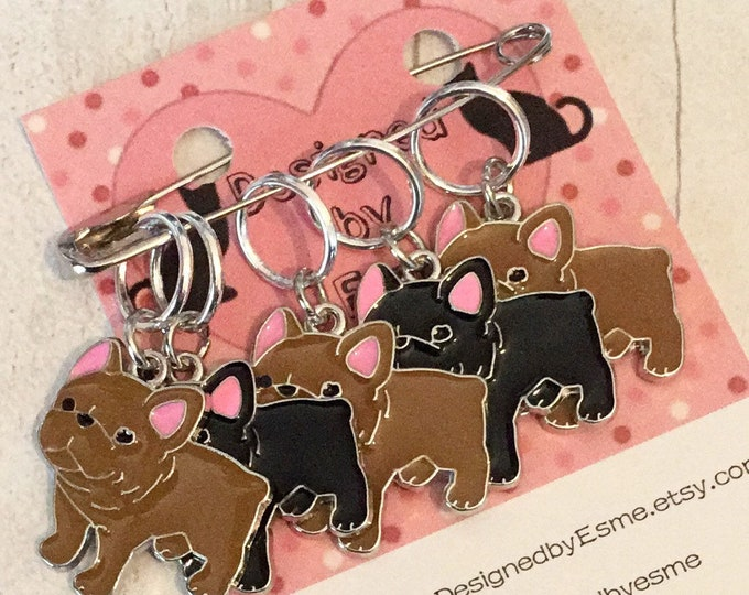 French Bulldog dog stitch markers, Frenchie knitters,  Frenchie crocheters, stitch markers, gift for a knitter, gift for a crocheter