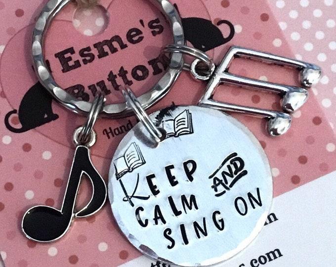 Choir singer  gift, choir singer, Hand stamped Key chain, UK seller, key ring, gift for a friend, gift for her, gift for him, musical gift