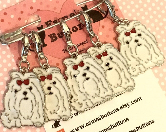 Maltese dog stitch markers, maltese knitters, maltese crocheters, stitch markers, gift for a knitter, gift for a crocheter
