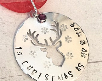 First Christmas as Mr and Mrs, Christmas tree gift, stag bauble, personalised gift, handstamped tree decoration, home decor, gift for her,