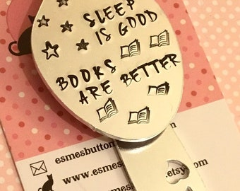"Bedtime Bookmark, Hand Stamped, Spoon Bookmark, ""Sleep is good, books are better"", gift for reader, spoonie bookmark, spoonie, personalised"