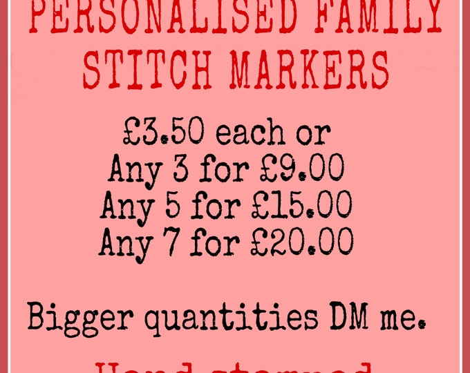 Personalised family stitch markers, for knitters, for crocheters, stitch markers, hand stamped, gift for a knitter,gift for a crocheter