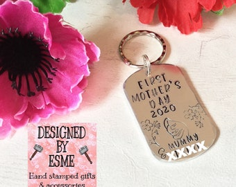 First Mothers Day gift, Mothers Day, mummy Keyring, Hand stamped gift,