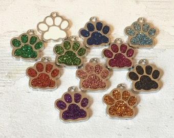 Paw print charm, add on, zip pull, stitch marker, dog gift, cat gift