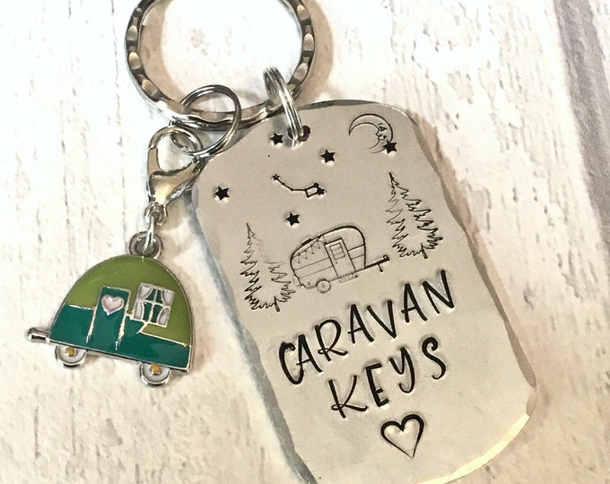 Caravan keys keyring, short break, Adventure gift, camping keyring, camping gift, Little Dipper, hand stamped,