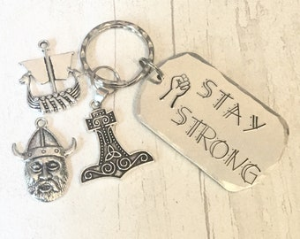 Stay strong Viking Gift,Shieldmaiden gift, Mjolnir hammer, Handstamped, Gift for Her, Gift for him,