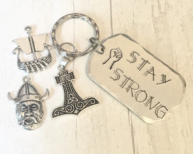 Stay strong Viking Gift,Shieldmaiden gift, Mjolnir hammer, Handstamped, Gift for Her, Gift for him,