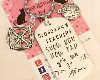 Geography Teacher appreciation keyring, geography teacher gift, TA gift, End of year gift, Hand stamped  Thank you gift, for her, for him