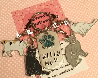 Kitty Mum keychain, cat gift, Cat lover gift, cat Dad  cat Mum, Hand Stamped, Key Chain, Gift for her, Gift for him, uk seller,