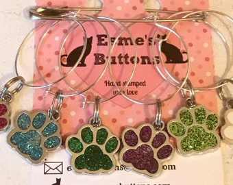 Dog paw wineglass charms, cat paw wine glass charms, dog gift, cat gift, gift for a dog lover, gift for a cat lover