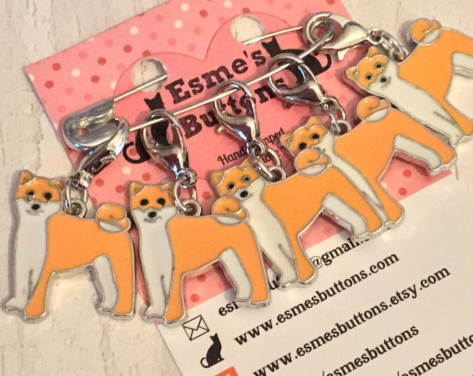 Akita dog, Shiba Inu dog stitch markers, Shiba inu knitters,  Shiba Inu crocheters, stitch markers, gift for a knitter, gift for a crocheter