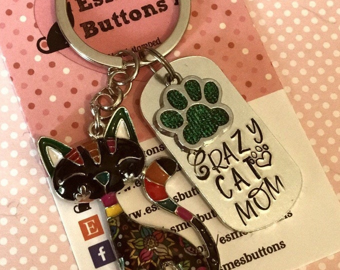 Cat mom keychain, cat gift, Cat lover gift, cat Dad  cat Mum, Hand Stamped, Key Chain, Gift for her, Gift for him, uk seller,
