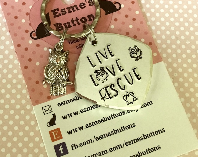 Rescue Owl keyring ,rescue owl, happy owls, rescue owl gift, Hand Stamped Key Ring, owl gift, for him, for her