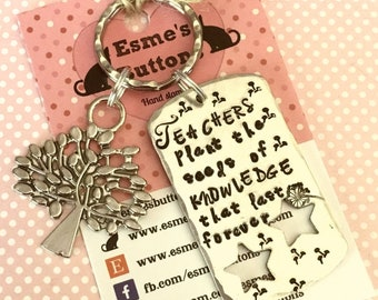 Teacher keyring, teacher gift, TA gift, End of year gift, Hand stamped, Thank you gift, Gift for Her, Gift for him, UK seller,