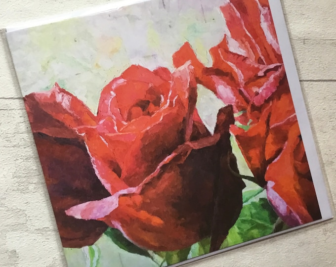 Red Roses, artist card, marktheartist, Still life, for her, for him, Summer flowers