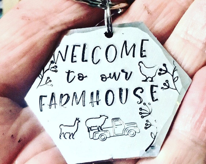 Farmhouse keyring, Farm gift, Cow gift, sheep gift, Hand Stamped, Gift for her, Gift for him, farmhouse keys,