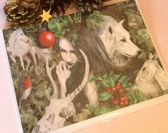 Noel Card, Yule Card, artist card, pagan card, alternative card, card for her, card for him,