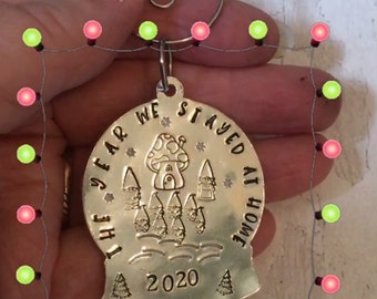 Lockdown Christmas tree bauble, the year we stayed home, snow globe, gnome family, personalised gift, handstamped, tree decoration,