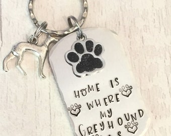 Home is where my Greyhound is dog keyring, Greyhound gift, Christmas gift,Key Ring, Dog Lover, for her, for him,greyhound keyring