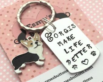 Corgi dog keyring, Corgi gift, Corgi lover gift, hand Stamped Key Ring, Corgis make life better, Corgi, gift for him, gift for her,