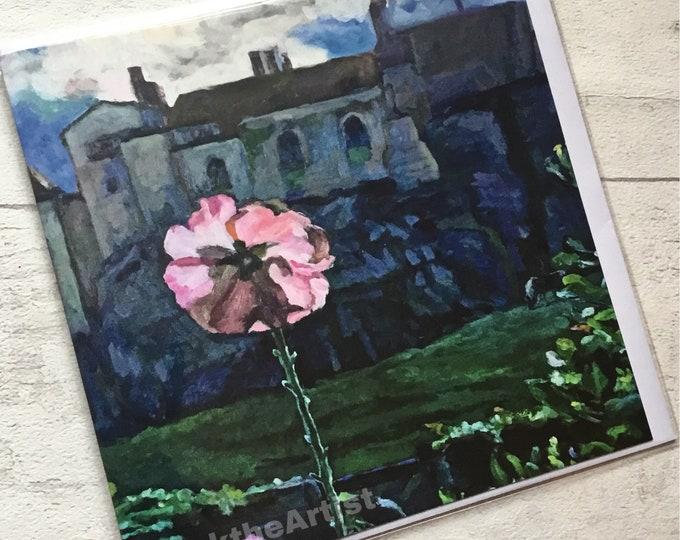 Lindisfarne Castle, artist card, marktheartist, Gertrude Jekyll garden, for her, for him, moonlit scene