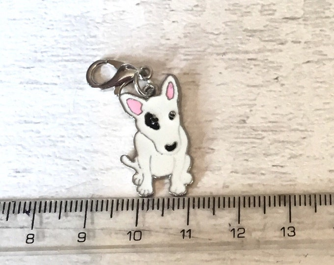 Bull Terrier charm, add on, zip pull, stitch marker, bull terrier gift, dog charms
