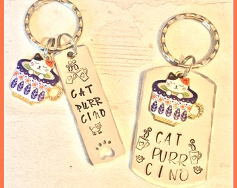 Cat-purr-cino,coffee lover gift, kitty lover gift, Hand Stamped, Key Ring, gift for him, gift for her