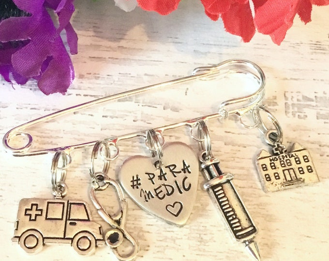 Paramedic key worker kilt pin brooch,ambulance driver gift, sweater pin, gift for a paramedic, hand stamped name, personalised,