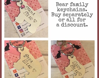 Bear family keyring gift, Papa Bear, Mama Bear, Baby Bear, for daddy, for Mummy, Hand Stamped gift, family gift, handstamped,