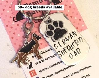 German Shepherd dad dog keyring, Fathers day gift, Hand Stamped Key Ring, Dog Owner, pet Owner, Pet Lover,alsatian keyring