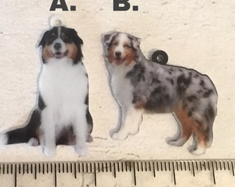Australian Shepherd charm, add on, zip pull, stitch marker,  Australian Shepherd gift,