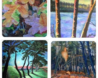 Set of 4 Tree painting greetings cards by Mark the Artist