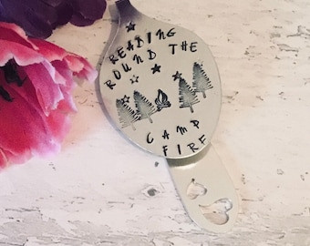 """Campsite Reader gift, Book mark gift, Hand Stamped gift, Spoon Bookmark, """"Reading round the campfire"""" gift for walker,"""