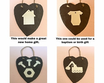 Slate heart, handstamped metal, new home gift, new baby gift, wall hanging,christening, new home, family gift,