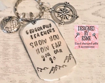 Geography Teacher appreciation keyring, geography lecturer gift, TA gift, End of year gift, Hand stamped, Thank you gift, for her, for him