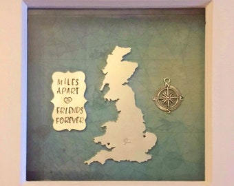 Long distance relationship frame, miles apart friends forever, fully customisable, home decor, wall decor, separated friends,