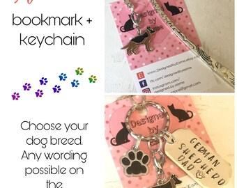German shepherd gift pack, German Shepherd keyring, German Shepherd bookmark, German Shepherd dog keychain Key Ring, for Mum, for Dad