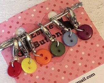 Rainbow button stitch markers, button stitch markers, knitters stitch markers,Crocheters Stitch markers, gift for knitting, gift for crochet