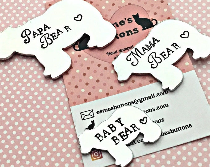 Father's Day gift, Bear family gifts, Mother's  Day gift, Papa Bear, Mama Bear, Baby Bear, Hand Stamped gift, Gift for Daddy, Gift for Mum,