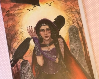 Pagan greetings Card, Esther Remmington, Morrighan, artist card, alternative card,