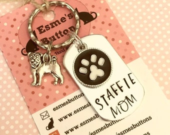 Staffie Dad dog keyring ,Staffie mum keyring, Staffie gift, Hand Stamped Key Ring, Dog Owner gift, Fathers Day gift, for her, for him,