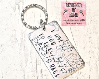 To the barn and back keys, Barn gift, Farm gift, Farmlife gift, Hand Stamped, Gift for her, Gift for him, keyring