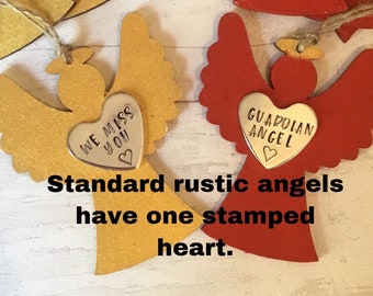 Miss you Rustic wooden Angel, Memorial Angel, Christmas tree ornaments, personalised gift, handstamped Christmas tree decoration,