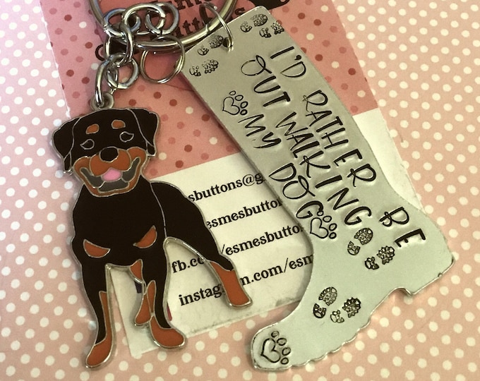 Rottweiler dog keyring, welly boot keychain, Rottweiler walker gift, walking my dog, wellie boot keyring, Hand Stamped Key Ring, Rottweiler